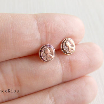 Abraham Lincoln Penny Jewelry Ear Stud Post in Sterling Silver, Real Tiny Coin, Brass Copper, Simple Everyday Wearable Jewelry, Gift for He