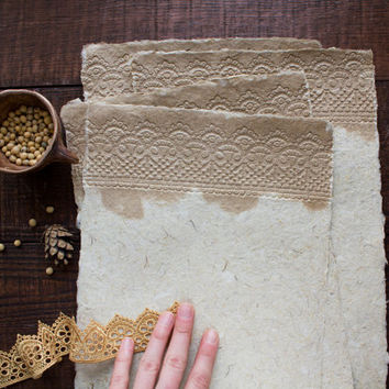 Art paper - Homemade paper - Lace paper - Decorative paper - Eco friendly paper - Textured paper - Handmade paper (#21bl)