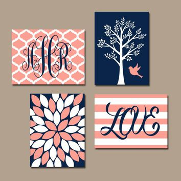 NAVY CORAL Nursery Wall Art, Baby Girl Nursery Decor, Tree Bird, Monogram, Bedroom Pictures, CANVAS or Print, Above Crib Decor, Set of 4