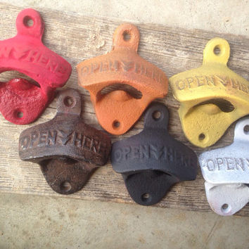 Bottle Cap Opener Vintage Style Beer Pop Soda Man Cave Wall Mounted Cast Iron Wedding Favor Open Here Retro Rustic Finish Distressed White