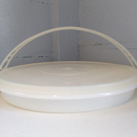 Vintage, Tupperware, Party Susan, Divided Party Tray, Tupper Seal 224-9, Food Storage, White, Kitchen, RhymeswithDaughter