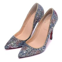 DCCK2 CL Christian Louboutin Women Sequins Pointed Toe Heels Shoes