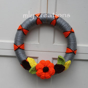 Autumn Yarn Wreath, Fall Wreath, Fall Yarn Wreath, Crochet Leaves,Crochet Decor, Pumpkin Decor, Fall decor, thanksgiving wreath, yarn wreath