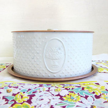 Vintage white and copper colored Weibro Cake Tin Storage Carrier Pan or Server