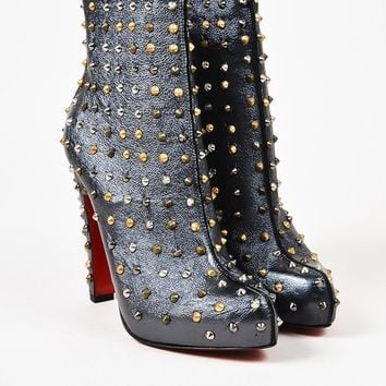 ONETOW Christian Louboutin Gunmetal Leather Studded  Ariella  Booties