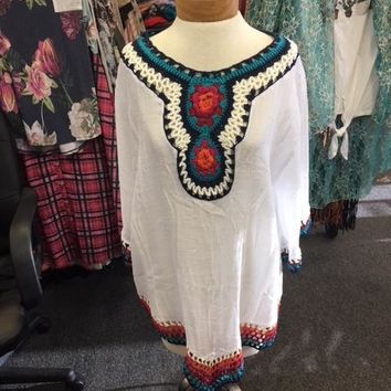 White Cover Top with Embroidery Detail