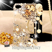 iPhone 4 case - best iphone 4 case - Clear iPhone Case - Cute iphone 4 case - Crystal flower iPhone 4 case - Bling iphone 4 case Pearl Charm