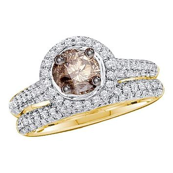 14kt Yellow Gold Women's Round Cognac-brown Color Enhanced Diamond Bridal Wedding Engagement Set 1-1/4 Cttw - FREE Shipping (US/CAN)