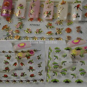 50pcs New Fashion 3d Bird Flowers Glitter Gold Designs Nail Art Decals Patch Wraps Foils DIY Stickers Tools TRXF6075-6095