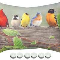 """Manual Woodworkers SHXBL1 Birds On A Line No.1 Rectangle Climaweave Outdoor Indoor Pillow 24""""x18"""" with 6-Pack of Tea Candles"""