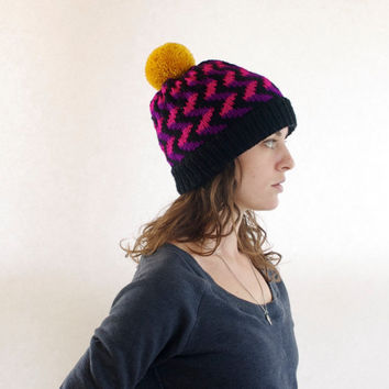 24c19a46fc9 Vegan Knit Toque - Women s Beanie - Knitted Pom Pom Hat - Black