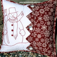 Embroidered Snowman Pillow, Redwork Snowman Pillow, Snowflake Pillow