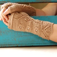 Fingerless gloves with lace pattern, hand knitted wool arm warmers / wrist warmers, brown