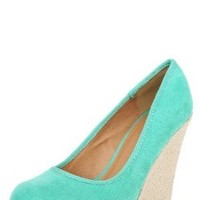 Worthy100 Espadrille Round Toe Wedge Pumps SEA GREEN