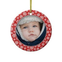 Red christmas photo frame ornament from Zazzle.com
