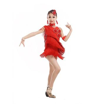 dance dresses with fringe salsa clothes sequin child costume latin sexy for girls samba 2017 children dress girl ballroom tango