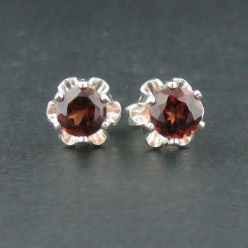 New Sterling Buttercup Garnet 4mm Earrings