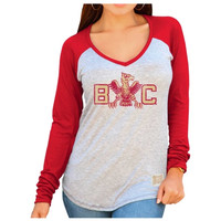Boston College Eagles Original Retro Brand Women's Contrast V-Neck Long Sleeve T-Shirt – Gray