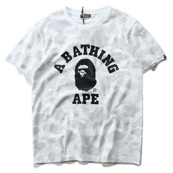 PEAPD Summer Unisex Bape Cotton Tee Round-neck Short Sleeve T-shirts