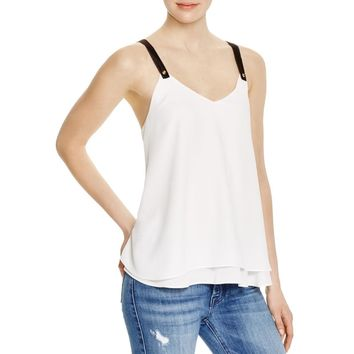 Aqua Womens Georgette Satin Trim Tank Top