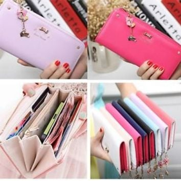 Women Leather Bow Pendant Clutch Long Card Purse Handbag Zip Wallet Bag Holder