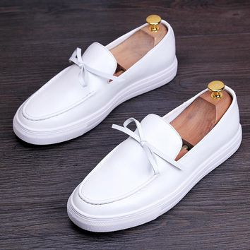 Italy White Genuine Leather Butterfly Knot Men shoe