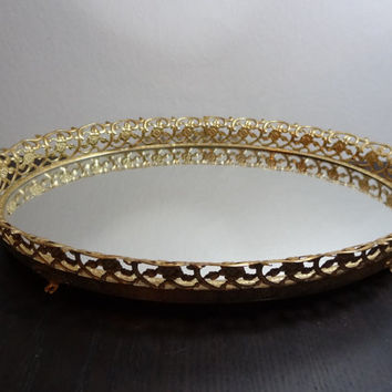 Vintage Oval Footed Mirrored Vanity/Dresser Tray with Whitewashed Gold Tone Floral Metal Filigree Design - Hollywood Regency/Paris Apartment