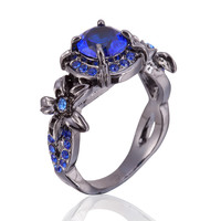 Fashion Flower Shiny Ring for women Red Garnet Women Charming Engagement Jewelry Black Gold Filled Promise Rings
