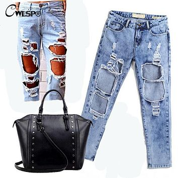 CWLSP Autumn Ripped Jeans Female Casual Washed Holes Boyfriend Jeans for Women Regular Long Torn Jeans Wild Denim Pants  QL1783