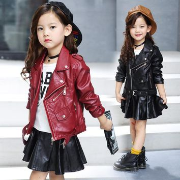 2018 New Spring kids jacket PU Leather Girls jackets Clothes children outwear For Baby Girls Boys clothing coats costume 4-16 Y