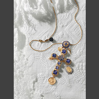 Gold necklace with cross pendant and pearls - D&G Jewellery