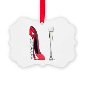 CORKSCREW RED STILETTO AND CHAMPAGNE ART ORNAMENT