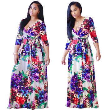 Multicolor Flower Print Wrap V Neck Maxi Dress