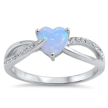 Sterling Silver CZ Lab Light Blue Opal and Simulated Diamond Infinity Heart Ring 6MM
