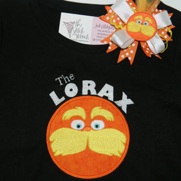 Dr. Seuss The Lorax  shirt and bow set  The tree lover orange lorax