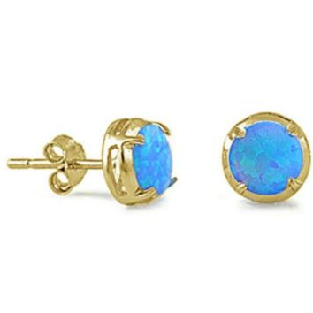 .925 Sterling Silver Yellow Gold Blue Fire Opal Round Circle Ladies Stud Earrings
