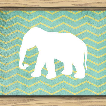 Elephant Nursery Art, Two 10x8 Inch Prints, Instant Download, Printable, Teal Chevron Background, Chevron Stripes