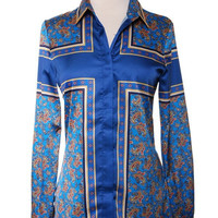 Silked Emerald Blue Blouse