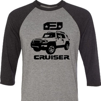 FJ Cruiser Classic-4 Wheel Drive Off Road-Baseball Style Shirt in Heather Grey and Black