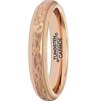4mm Rose Gold Ring Tungsten Carbide Wedding Band Plated Matte Handcrafted Hammered Grain (14k, 18k)