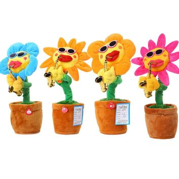 60 Songs Singing and Dancing Flower with Saxophone Plush Funny Electric Toy
