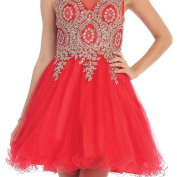 Beaded gold embroidered short prom & homecoming dress Mq1261 - CLOSEOUT