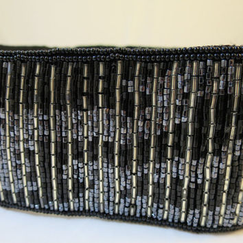 Black Silver Beaded Belt Cinch Style SM Size by Regale Hand Sewn Beads Formal Vintage 1980's Evening Belt Velcro Closure Fits up to 28 Waist