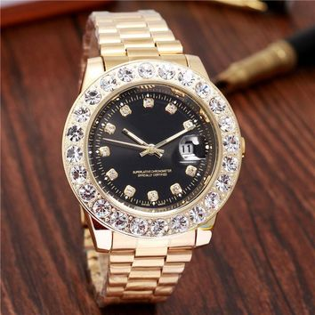 relogio masculino black watch men fashion automatic day date gold diamond mens watches top brand luxury Stainless steel clock