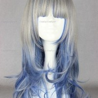 CosplayerWorld WIG-346A Harajuku Gothic Lolita Cosplay Wig For Convention Grey Blue Gradient color 60 290g