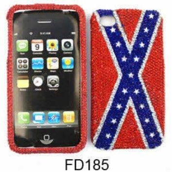 Apple IPhone 4 4S Bling Rebel Flag Case Cover Snap On Faceplate Skin New Hard