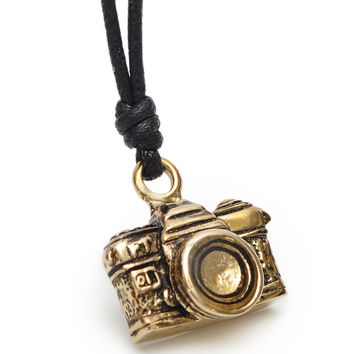 Vinatge Camera Handmade Brass Necklace Pendant Jewelry