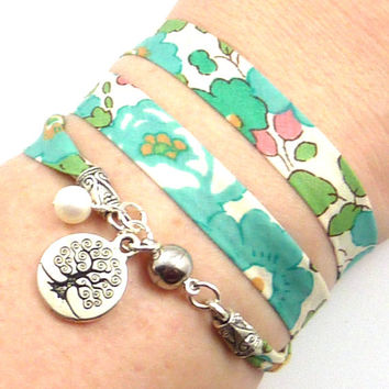 Tree of Life Wrap Bracelet, Liberty of London Fabric, yoga jewelry, yoga bracelet, namaste jewelry