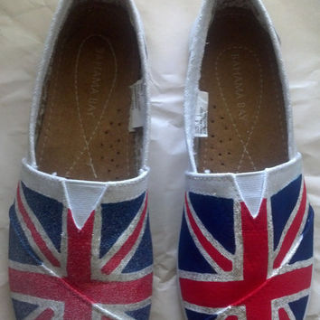 British Flag Imitation TOMS Glitter or Matte (Size 5 or 9 Only)