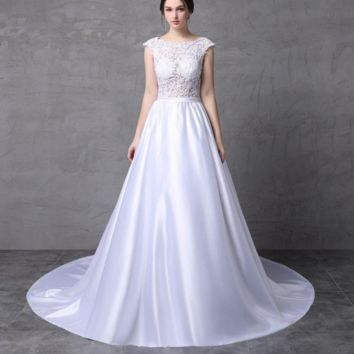 Lebanon Design Short Cap Sleeve Lace Satin Wedding Dresses Low Back Bridal Gown